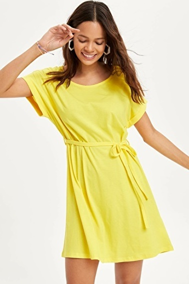 DeFacto Beli Büzgülü Slim Fit Elbise Sarı